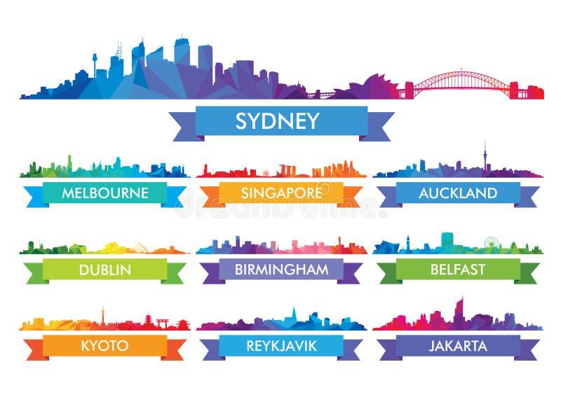 Ity horisont Australien för färgrik Ñ- och ölandet vektor illustrationer