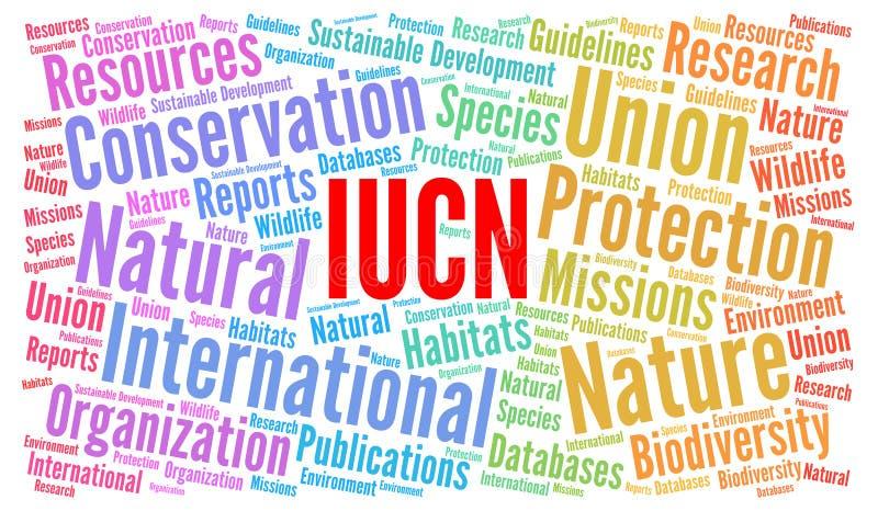 IUCN-het concept van de woordwolk royalty-vrije illustratie
