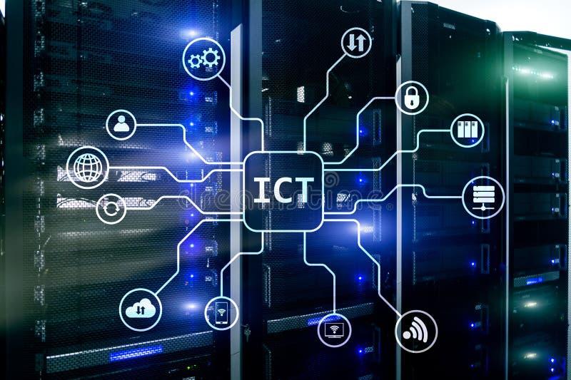 IuK - Informationen und Kommunikationstechnikkonzept auf Serverraumhintergrund vektor abbildung