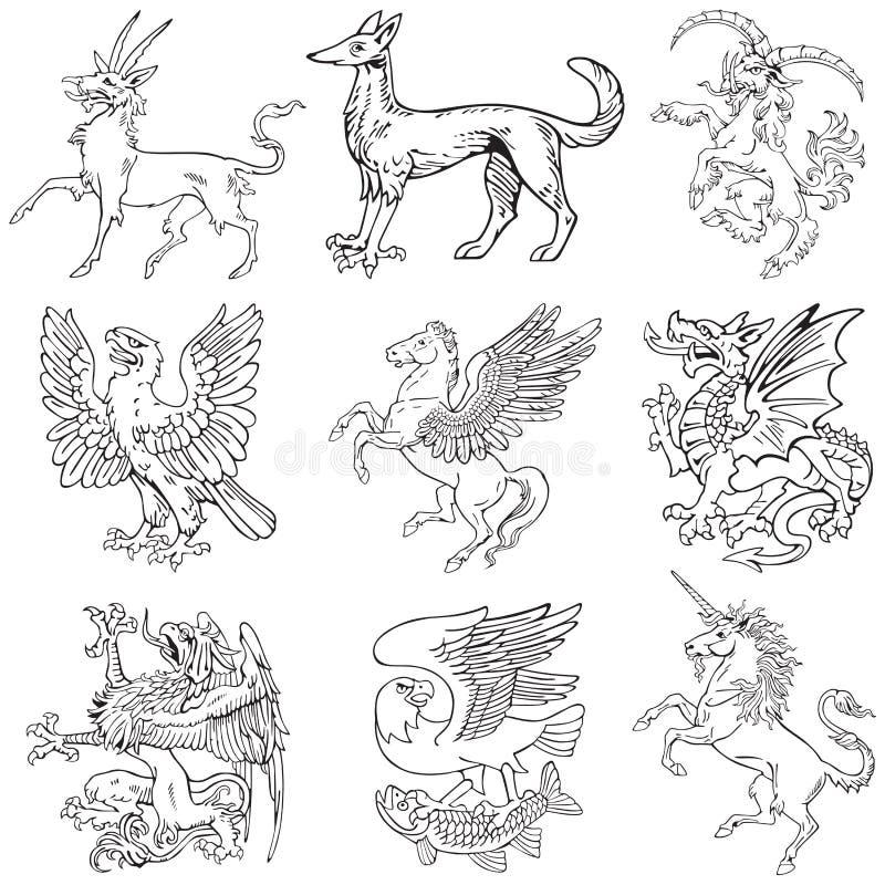 iv heraldyczni potwory vol royalty ilustracja