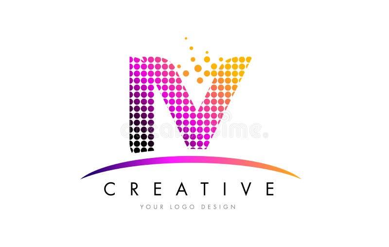 IV I V Letter Logo Design with Magenta Dots and Swoosh stock illustration