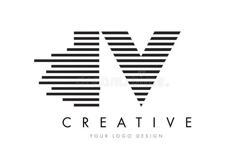 IV letra Logo Design de la cebra de I V con las rayas blancos y negros libre illustration