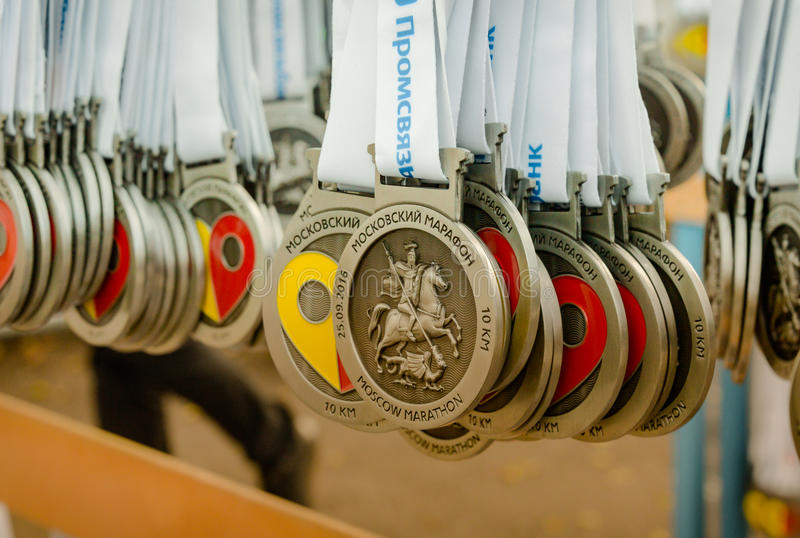 2016.09.25: IV Moscow Marathon. Medals for finishers of the race 10 km. IV Moscow Marathon. With the support of the Moscow Government and the Department of stock photo
