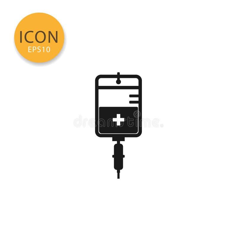 IV torby mieszkania ikona odizolowywający styl royalty ilustracja