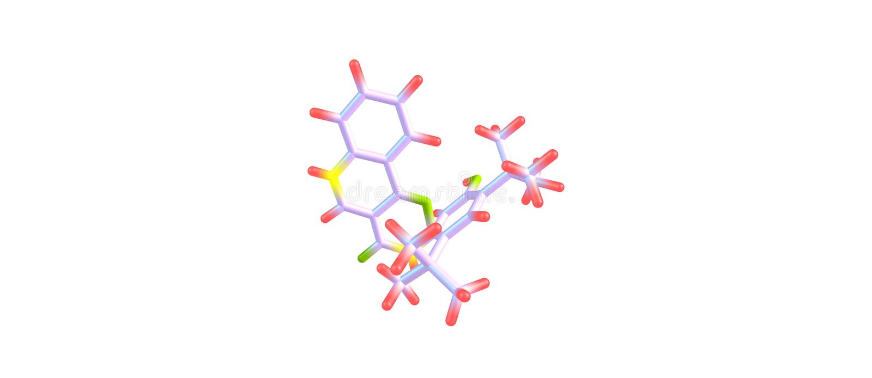 Ivacaftor δομή που απομονώνεται μοριακή στο λευκό απεικόνιση αποθεμάτων