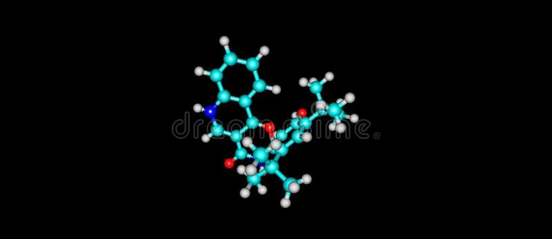 Ivacaftor δομή που απομονώνεται μοριακή στο Μαύρο ελεύθερη απεικόνιση δικαιώματος