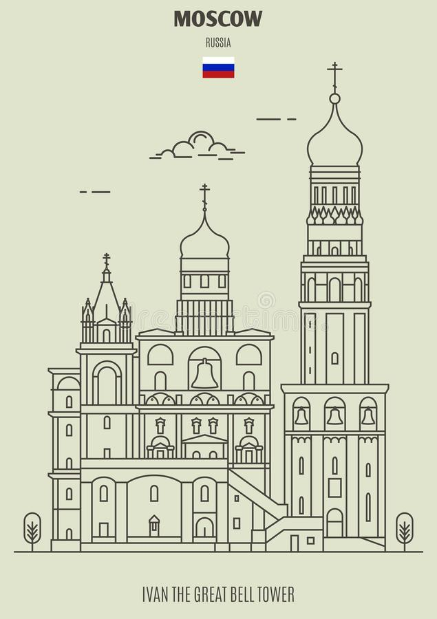 Ivan the Great Bell Tower in Moscow, Russia. Landmark icon vector illustration