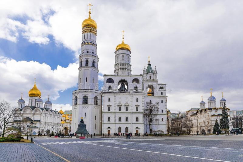 Ivan the Great Cathedral in the Moscow Kremlin.  stock photo