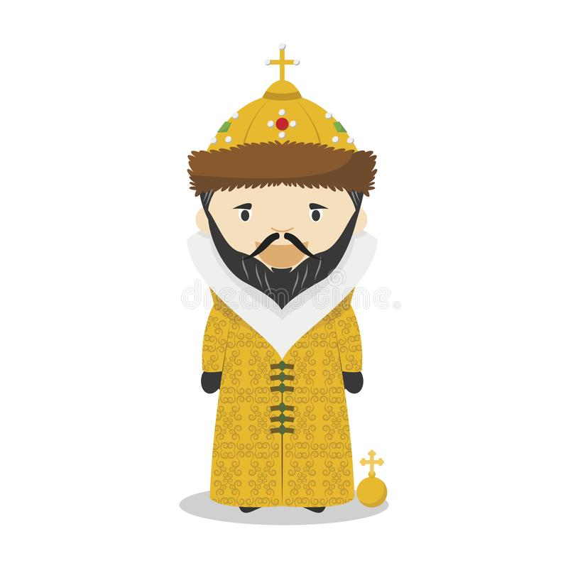 Ivan IV de Rússia o personagem de banda desenhada terrível Ilustração do vetor ilustração stock