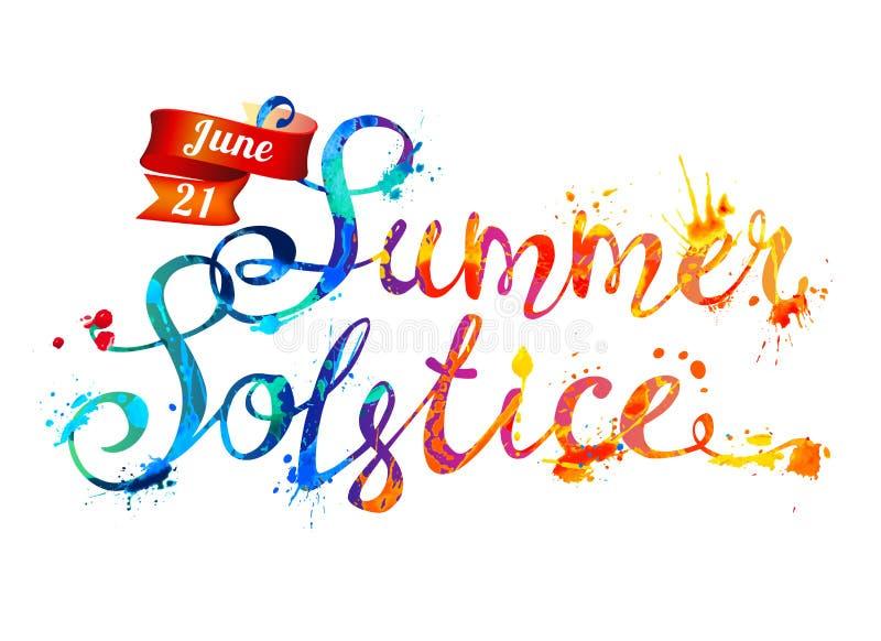 Ivan Kupala Juni 21 Målarfärg för vektorvattenfärgfärgstänk royaltyfri illustrationer