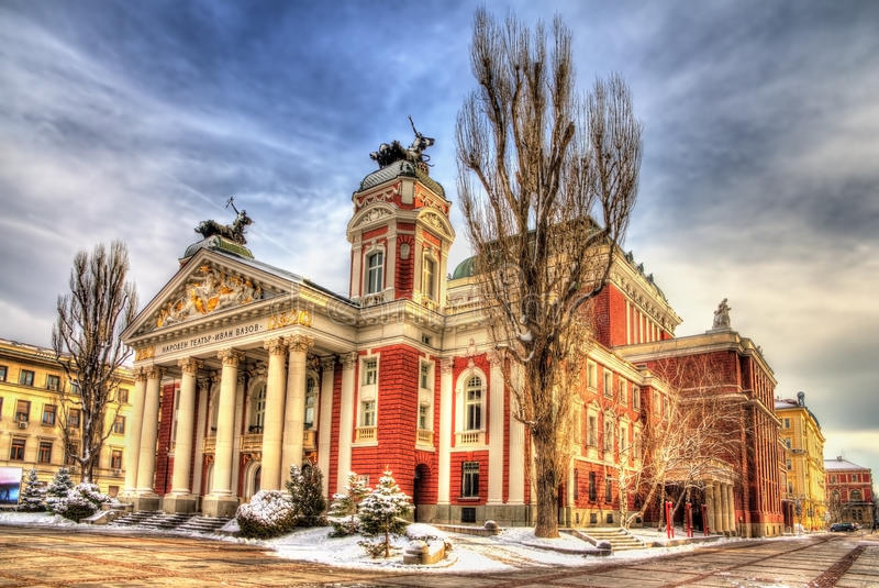 Ivan Vazov National Theatre in Sofia lizenzfreie stockfotografie