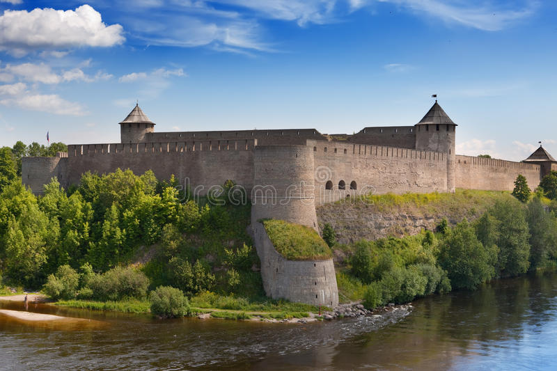 Ivangorod fortress.Cityscape in a sunny day. Ivangorod fortress at the border of Russia and Estonia stock image