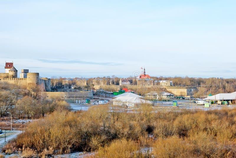 Ivangorod. Russia. Russian - Estonian border. IVANGOROD, RUSSIA - JANUARY 3, 2017: View for Multilateral transport crossing point near Russian-Estonian border royalty free stock image