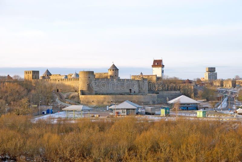 Ivangorod. Russia. Russian - Estonian border. IVANGOROD, RUSSIA - JANUARY 3, 2017: View for Multilateral transport crossing point near Russian-Estonian border stock photo
