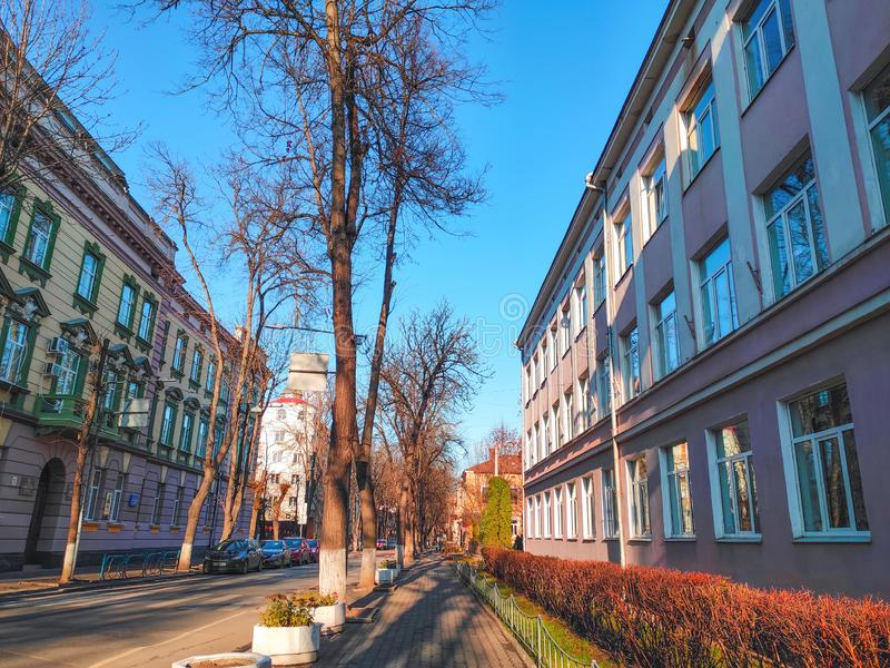 Ivano-Frankivsk, Ukraine - December 1, 2019: Architecture in the city center of Ivano-Frankivsk. Beautiful city.  royalty free stock photography
