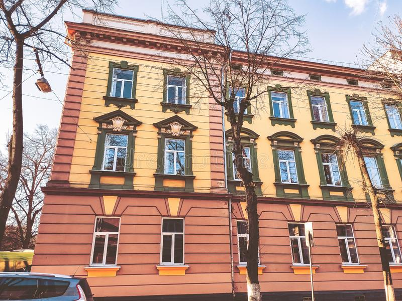 Ivano-Frankivsk, Ukraine - December 1, 2019: Architecture in the city center of Ivano-Frankivsk. Beautiful city.  royalty free stock image