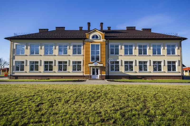 Ivano-Frankivsk, Ukraine - December 22, 2017: New modern building of kindergarten in Uhornyky. royalty free stock photo