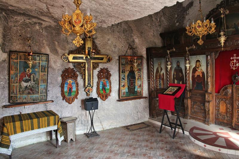 Ivanovo, Bulgaria. AUGUST 18, 2012: Interior view of Ivanovo rock hewn church in Bulgaria. The religious monument is listed as UNESCO World Heritage Site royalty free stock photo