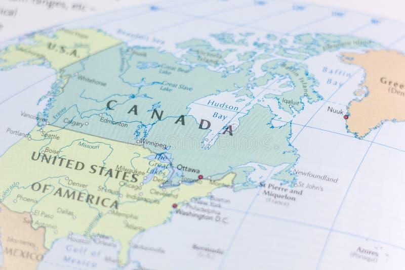Ivanovsk, Ρωσία - 24 Νοεμβρίου 2018: Καναδάς στο χάρτη του κόσμου στοκ φωτογραφίες