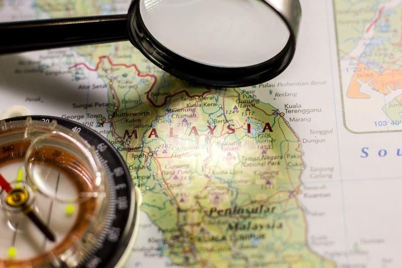 Ivanovsk, Rússia - 24 de janeiro de 2019: Malásia no mapa do mundo fotos de stock
