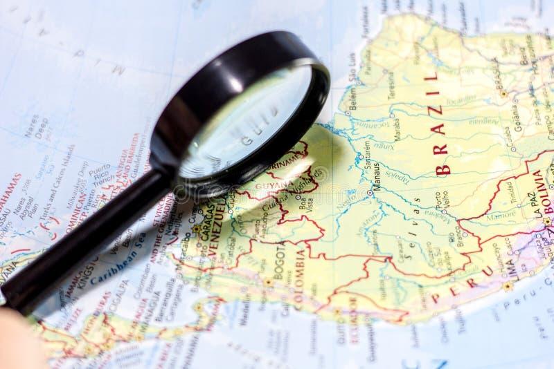 Ivanovsk, Russland - 24. November 2018: Guyana auf der Karte der Welt lizenzfreies stockbild