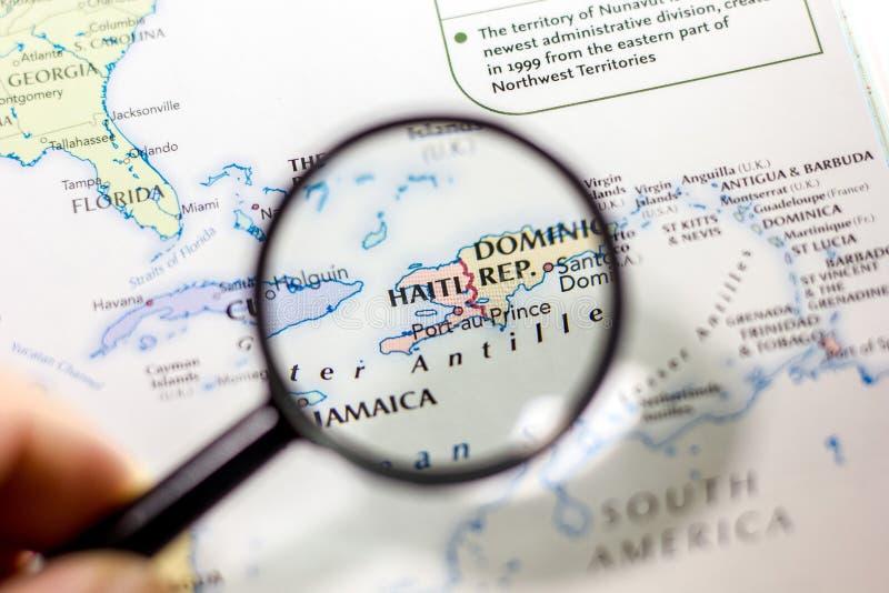 Ivanovsk Ryssland - November 24, 2018: Haiti på översikten av världen royaltyfria bilder