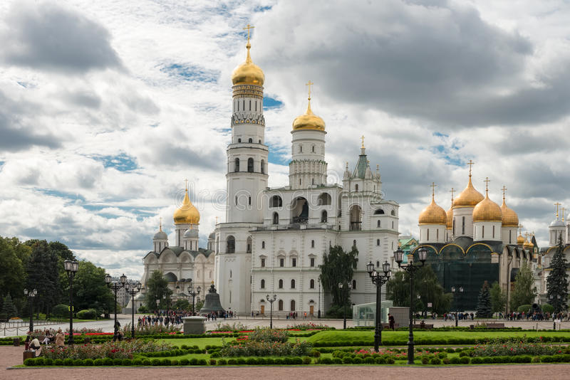 Ivanovskaya Square in the Moscow Kremlin. MOSCOW, RUSSIA - SEPTEMBER 7, 2016: Inside the Kremlin`s wall - Ivan the Great Bell Tower, Ivan the Great Bell stock image