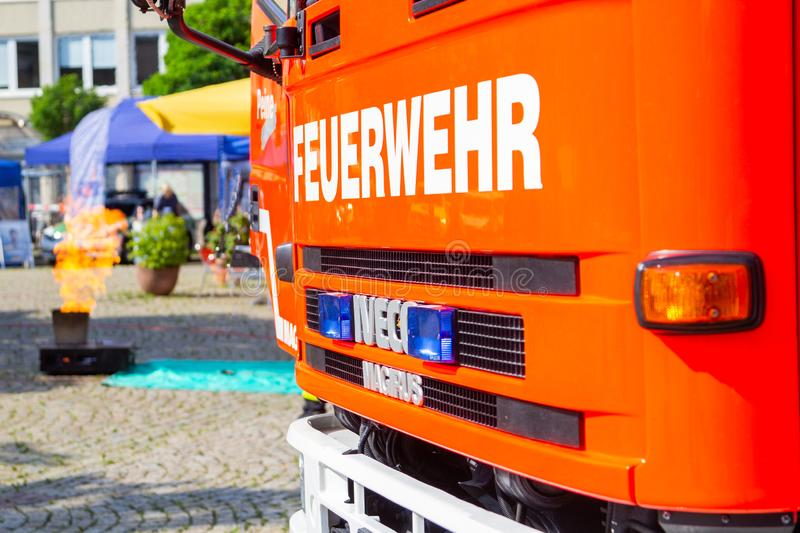 Iveco Magirus rotating ladder from german fire department Peine f. PEINE / GERMANY - JUNE 22, 2019: Iveco Magirus rotating ladder from german fire department stock images
