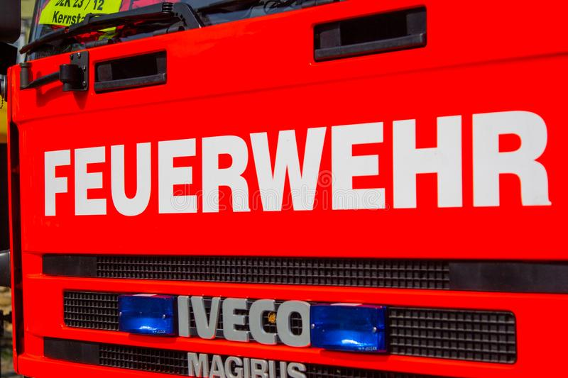 Iveco Magirus rotating ladder from german fire department Peine f. PEINE / GERMANY - JUNE 22, 2019: Iveco Magirus rotating ladder from german fire department royalty free stock photos