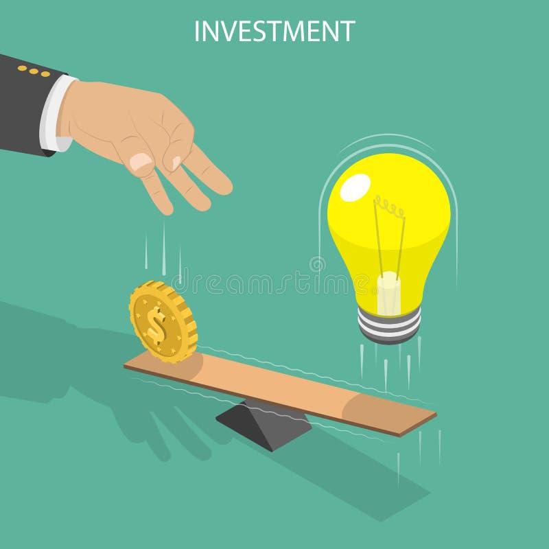 Ivestment vlak isometrisch vectorconcept stock illustratie