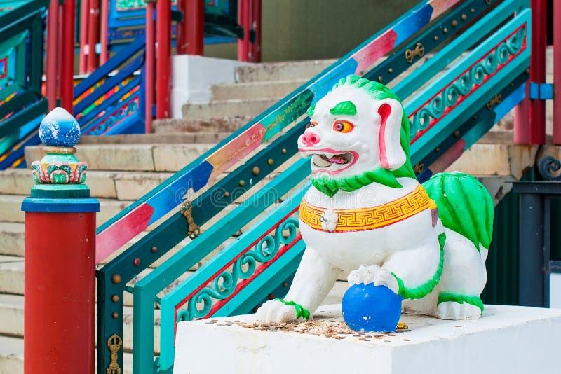 Ivolginsky datsan, Buddhist white lion. royalty free stock photos