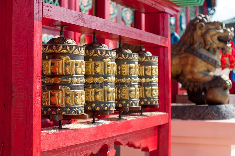 Ivolginsky datsan, prayer wheels. royalty free stock images