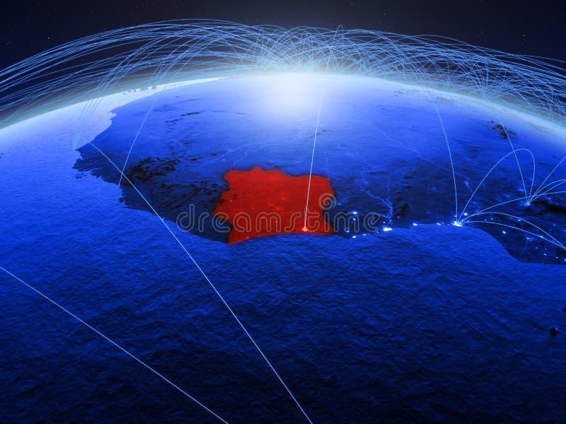 Ivoorkust op blauwe digitale aarde met internationaal netwerk die mededeling, reis en verbindingen vertegenwoordigen 3d royalty-vrije stock fotografie