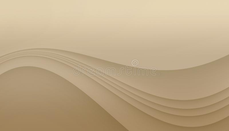 Ivory beige curving lines abstract background illustration with copy space. royalty free illustration