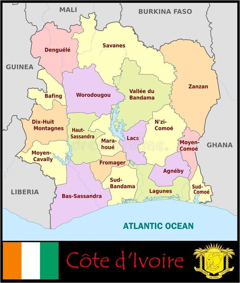 Ivory Coast Administrative Divisions Stock Illustration