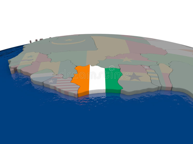 Download Ivory Coast With Flag Stock Illustration - Image: 83716354