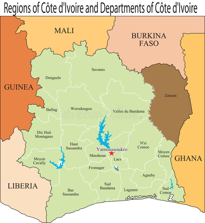 Ivory Coast map. An Ivory Coast map and boundaries vector illustration
