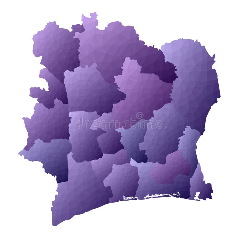 Ivory Coast map. Geometric style country outline. Energetic violet vector illustration royalty free illustration