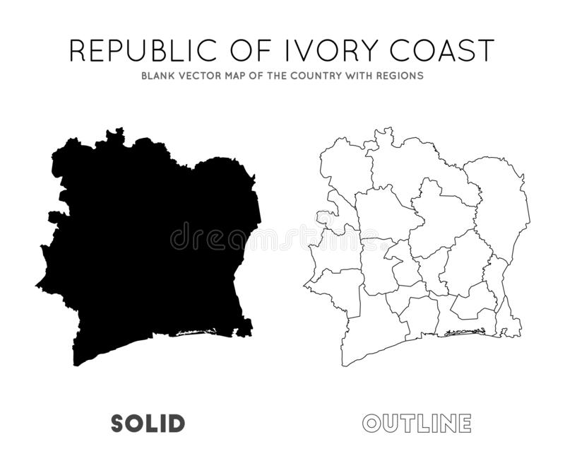 Ivory Coast map. Blank vector map of the Country with regions. Borders of Ivory Coast for your infographic. Vector illustration royalty free illustration