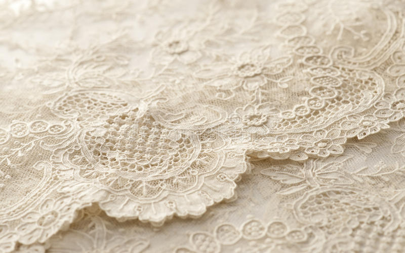 Ivory-colored Lace Cloth Royalty Free Stock Images