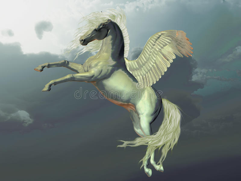 Ivory Pegasus. Flies up into the clouds above the Earth vector illustration
