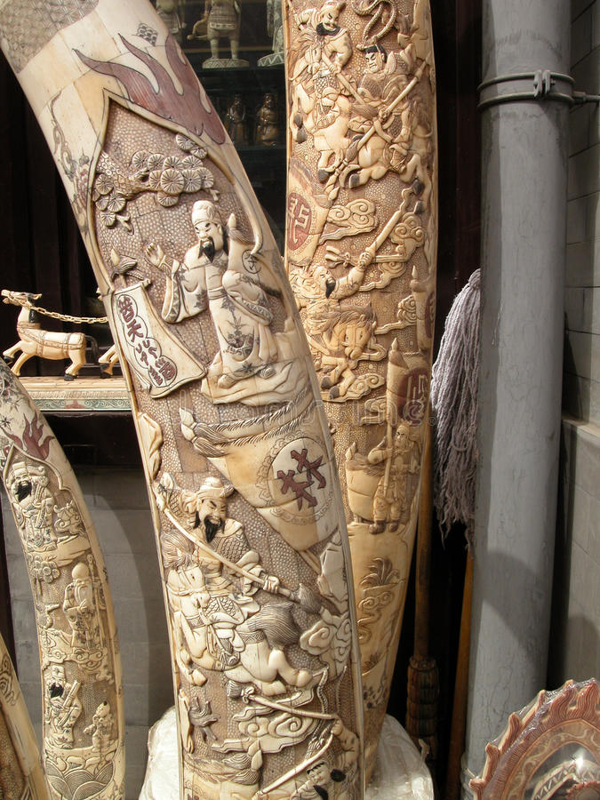 Ivory tusks carved and for sale in beijing china