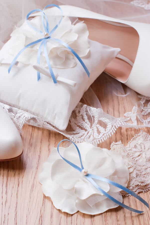 Ivory wedding accessories for the bride stock photography