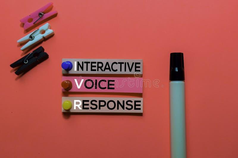 IVR. Interactive Voice Response acronym on sticky notes. Office desk background stock photography
