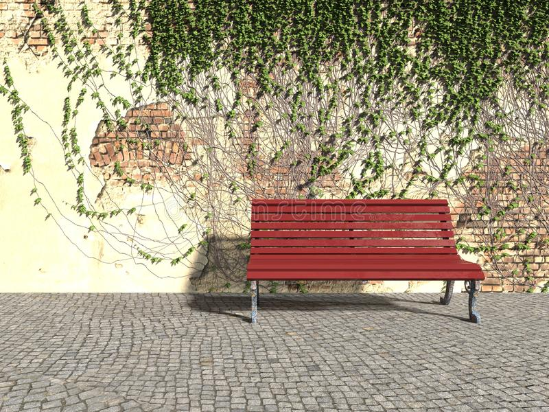 Ivy Bench. Bench old wall covered with ivy leavesngreen ivy, red bench, old wall cobble stone road 3d illustration royalty free illustration
