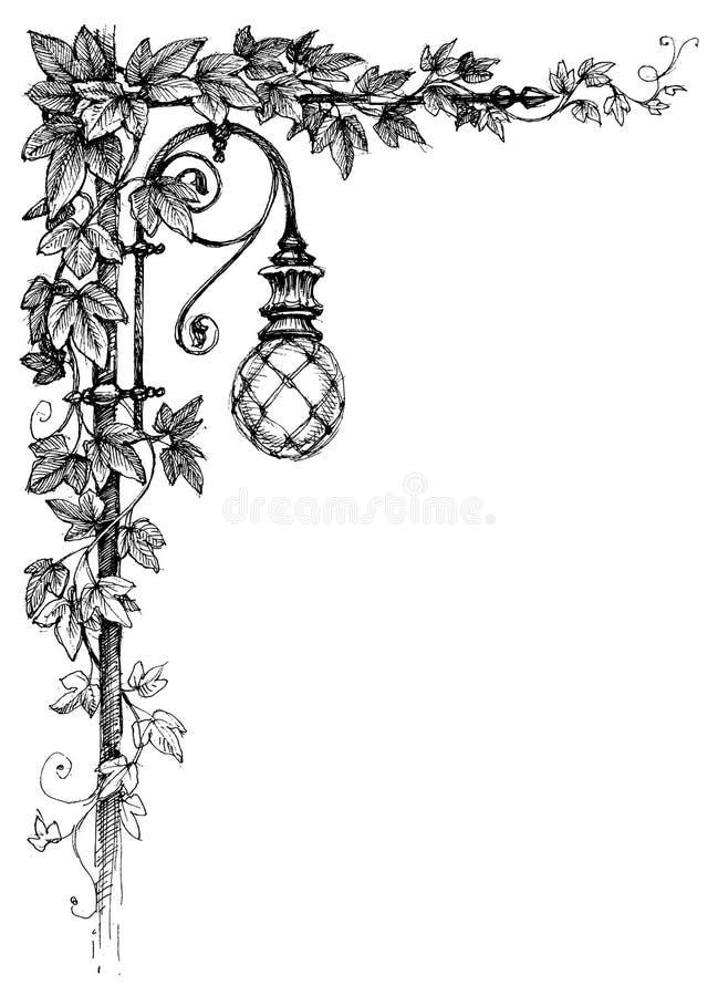 Ivy corner decoration stock illustration