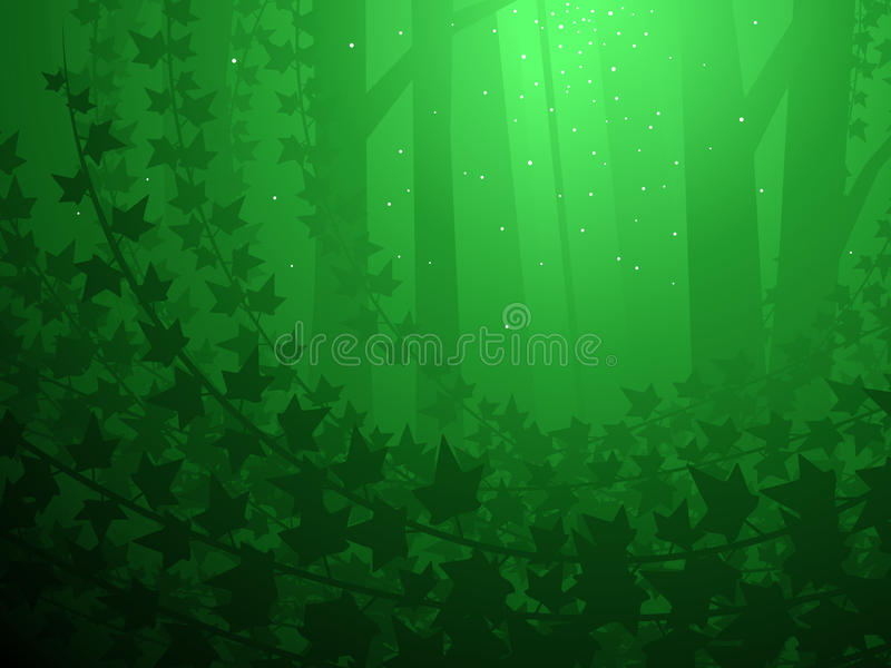 Ivy covered forest. Enchanted forest and ivy grove illustrated background vector illustration