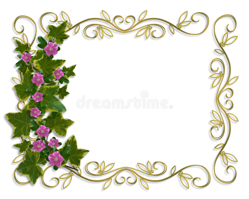 Ivy Floral design border with gold frame royalty free illustration