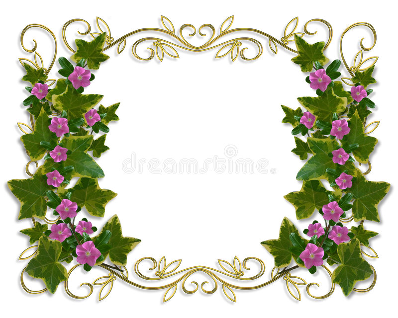 Ivy Floral design border with gold frame royalty free illustration