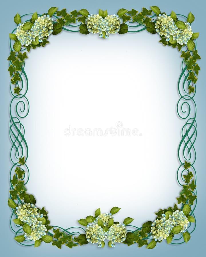 Ivy Hydrangea floral border Wedding invitation royalty free illustration